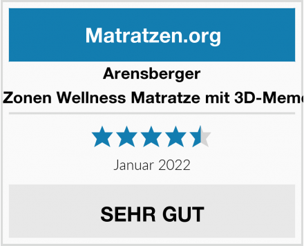 Arensberger Relaxx 9 Zonen Wellness Matratze mit 3D-Memory Foam Test